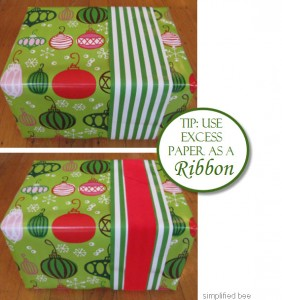 using excess wrapping paper as ribbon