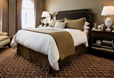 The Warm And Elegant Master Bedroom Is Gorgeous In A Dark Green Color