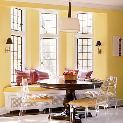 Infusing yellow in your color scheme and interior design for Bay window nook bench