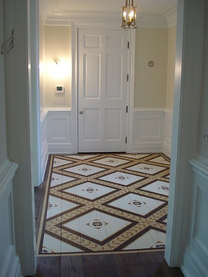 Gorgeous hand painted designer floors by billet collins for Painted hardwood floor ideas