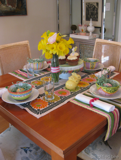 Our easter brunch table setting cheery bright for Easter dinner table setting ideas