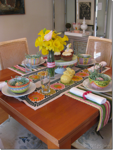 Cheery Easter brunch table setting