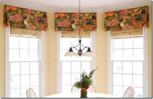 Bay window treatments in the kitchen