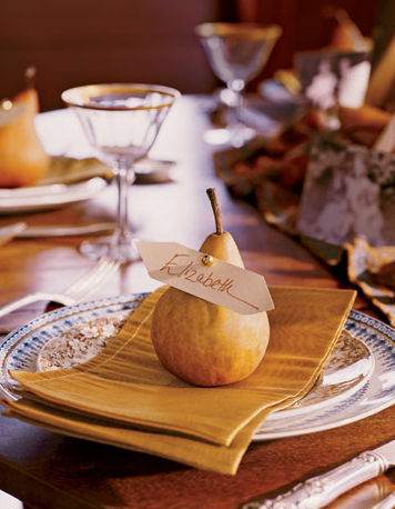 Naturally elegant place cards can be as simple as an autumn pear with