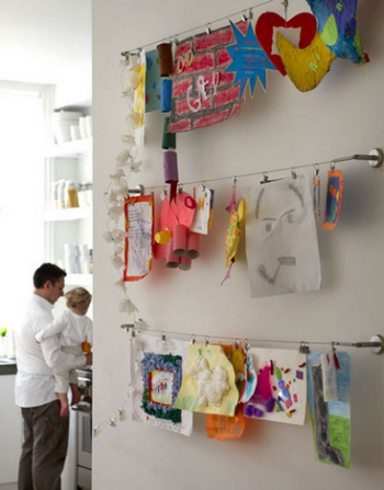 Displaying kids artwork cable system ikea