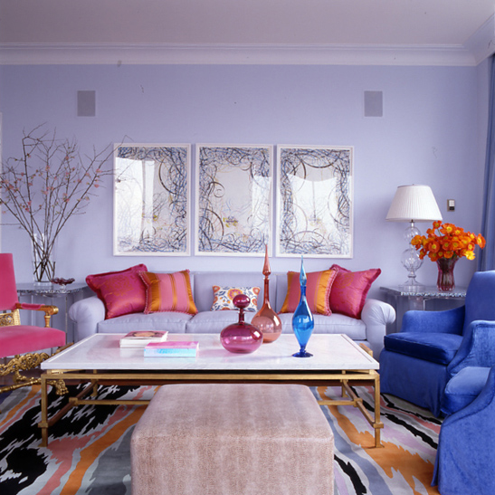 The king of color jamie drake ny upper east side design for Multi color living room ideas