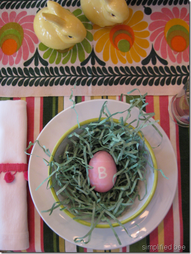 Easter egg letter initial place setting