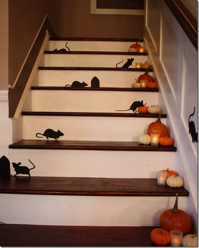 Halloween decor mice up the staircase