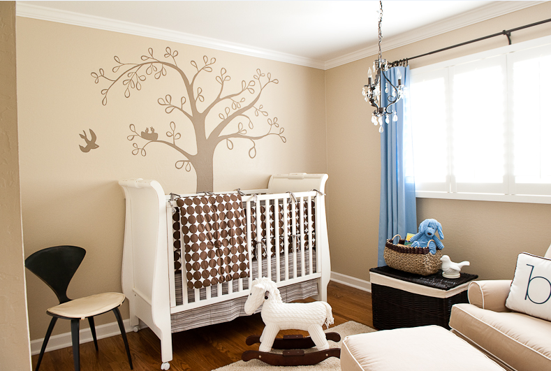 Baby boy bird theme nursery design decorating ideas for Baby boy mural ideas