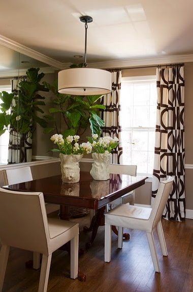 In The Dining Room, Liz Opens Up The Space Visually With A Large Custom  Mirror And Floor Length Drapes In A Fun Brown And White Geometric Print.