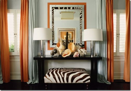 Mary McDonald orange and blue drapes zebra bench