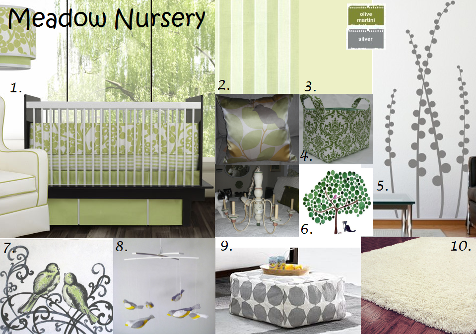 baby bird and spring green meadow gender neutral nursery