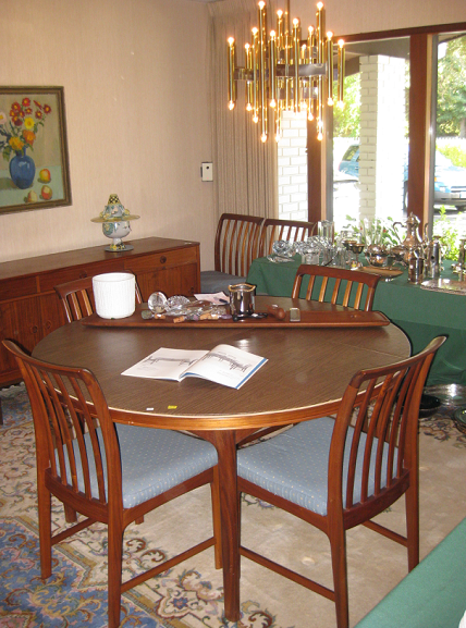 Spectacular Another gem in the home was the round teak dining room table and chairs They were Ohlsson us design while at DUX And I really wanted that table