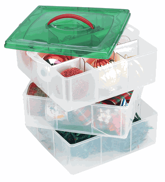 Marvelous This Space Saving Holiday Storage Box Consists Of Three Stackable Trays  With Adjustable Dividers To
