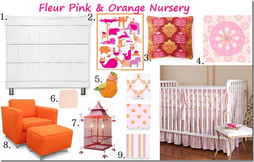 Pink Orange Birdcage Baby Girl Nursery Design Inspiration