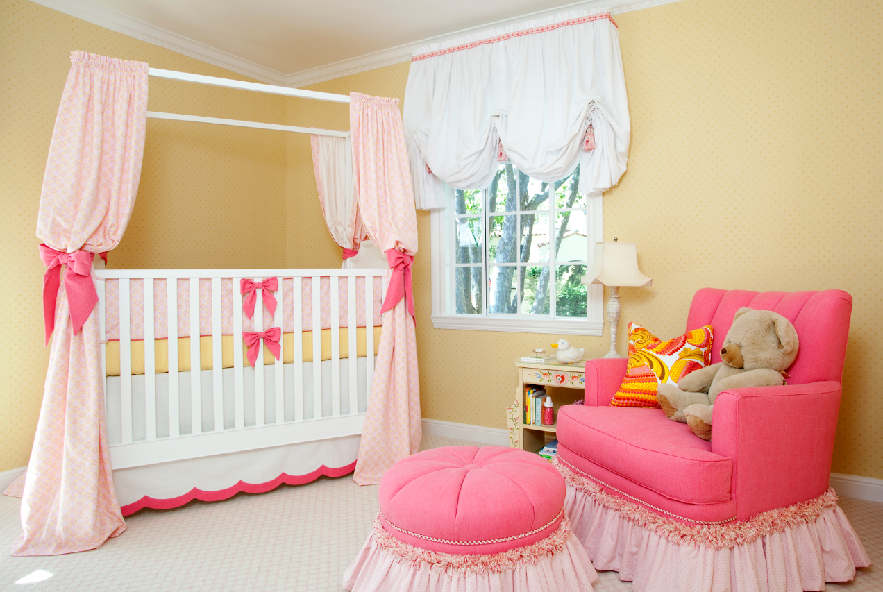 Sweet pink yellow baby girl nursery by house of ruby simplified bee - Baby girl bedroom ideas ...