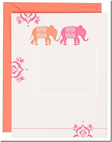 best hostess gift stationary pink orange elephants paper source