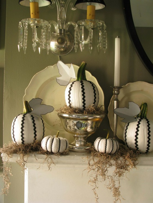 black and white halloween decor decorating black and white pumpkins eddie ross ric rac