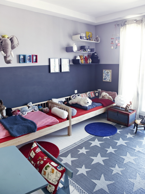 Red white blue boy s room happy july 4th simplified bee for Blue and white boys room