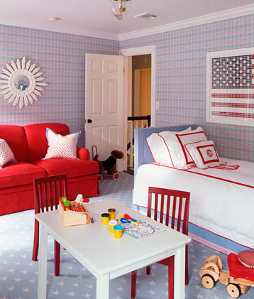Ashley Whittaker Designed This Darling Red, White And Blue Scheme Boyu0027s  Bedroom. I Recognized The White Table And Red Chairs From Pottery Barn Kids  U2013 My ...