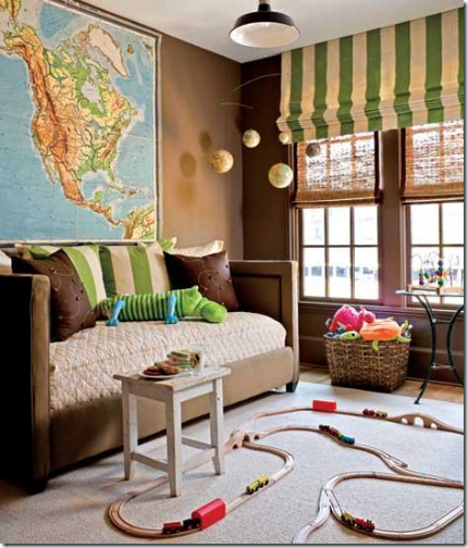 brown green kids playroom with map usa
