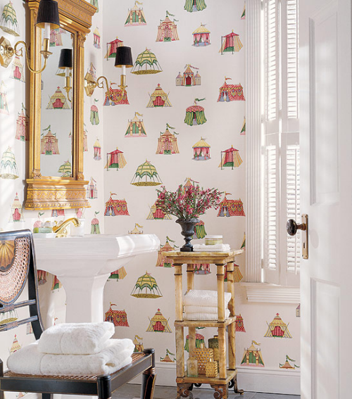 Bathroom Wallcovering French Toile Room Decor Bathroom: Friday Find: Wallpaper From Thibaut