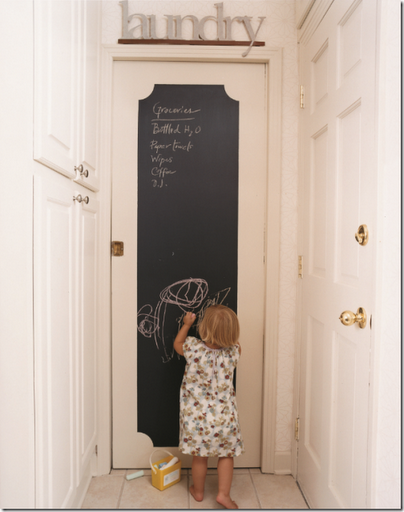 chalkboard painted laundry door frame