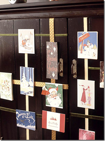 christmas card display cabinet ribbon