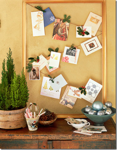 christmas card display idea country living