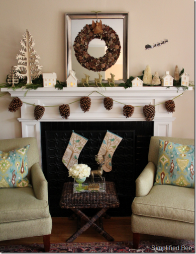 christmas_mantel_monochromatic_pinecones