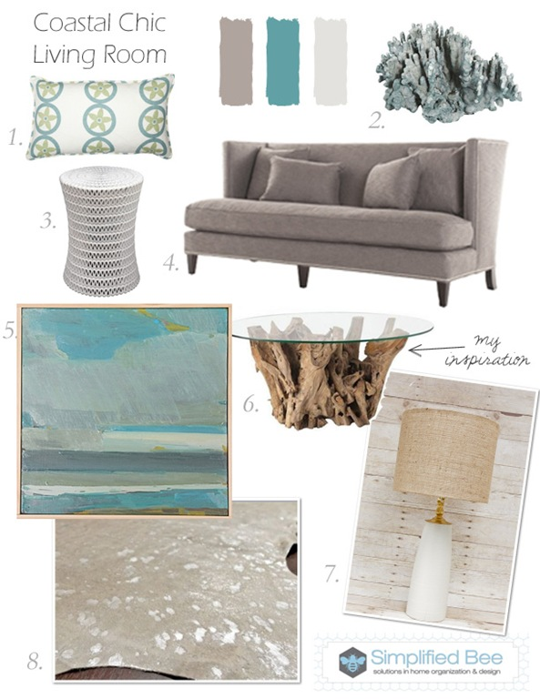 Design Board: Coastal Chic Living Room | Simplified BeeSimplified Bee