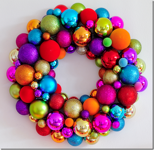 colorful glass ornament holiday wreath