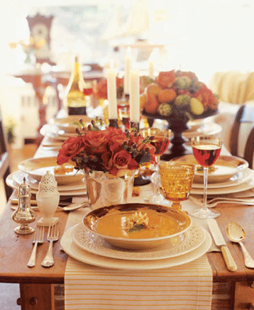 Table runners are also a great look. They give the table some festive color and at the same time show off it\u0027s beautiful wood grain or shine. & Thanksgiving Table Setting and Decorating Ideas - Simplified Bee