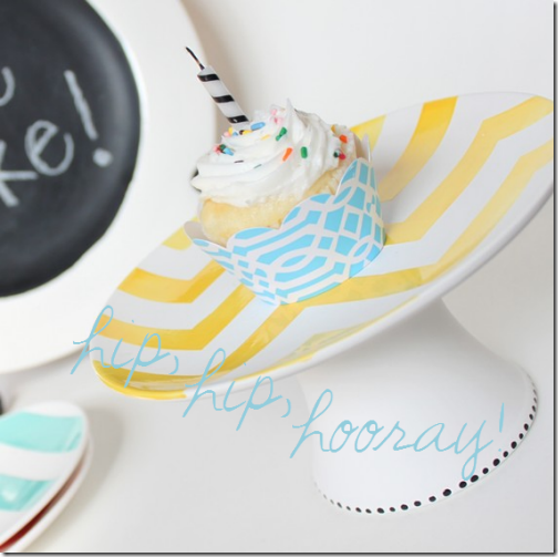 cupcake one candle zigzag cake plate
