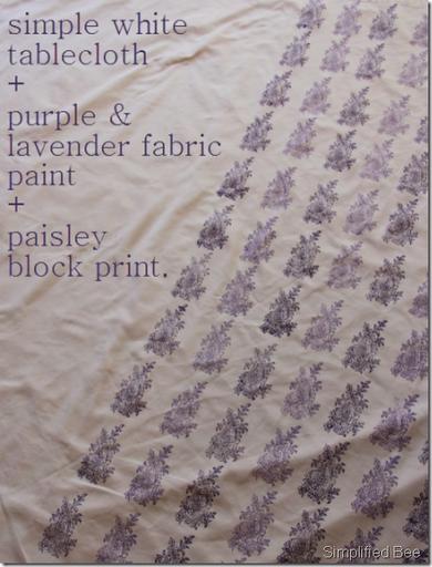 diy block print tablecloth purple