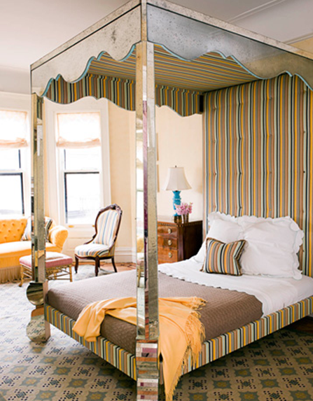 Stunning This stunning mirrored four poster canopy bed in this room designed by Jonathan Berger was based on a s Serge Roche bed I particularly like how Berger