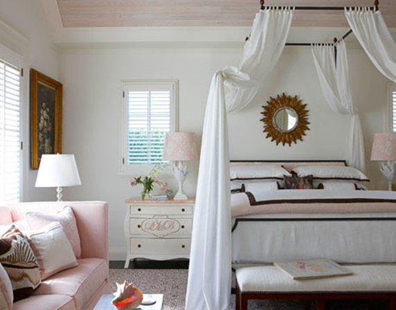 Great In this soft pink white and brown bedroom designer Gary McBournie centers a Loire iron canopy bed by Niermann Weeks perfectly between two windows