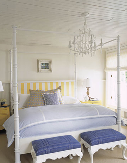 In This Nautical Bedroom Designer Tom Stringer Placed A Traditional Four Poster Bed Between Two Matching 3 Drawer Sidetables The Sunny Yellow
