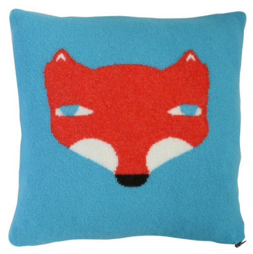 fox throw pillow blue red