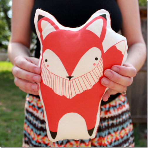 fox throw pillow cute