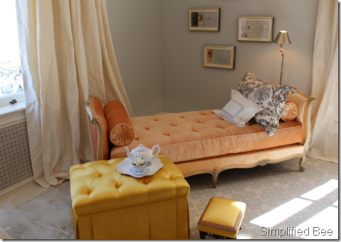 french tufted daybed peach velvet