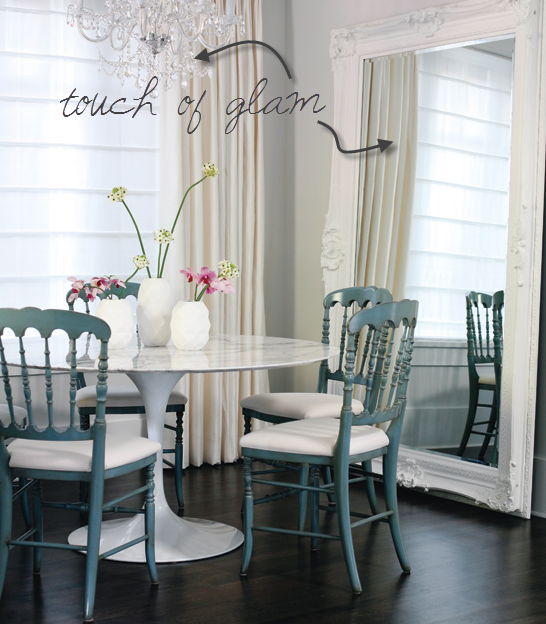 Dash of modern pinch of traditional interior design for Dining room mirrors