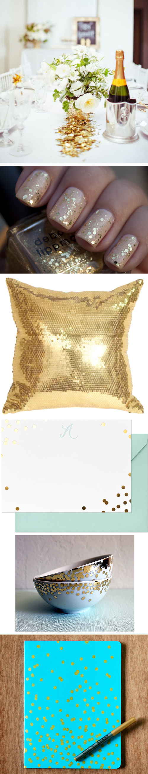 Gold Confetti Celebration Notecards and Pillow