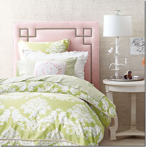 greek key nailhead headboard for bed girls room