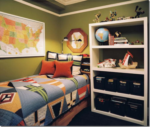 green boys bedroom with maps and globe