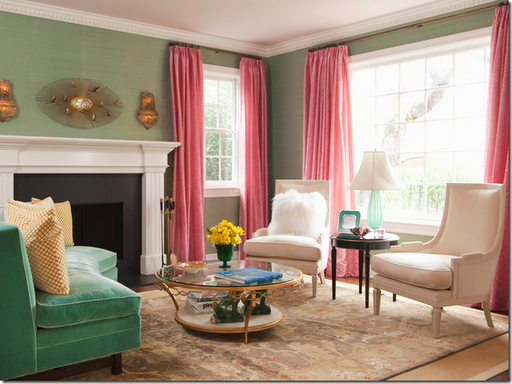 green pink living room design