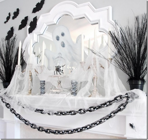 halloween decorating black white mantel ghosts