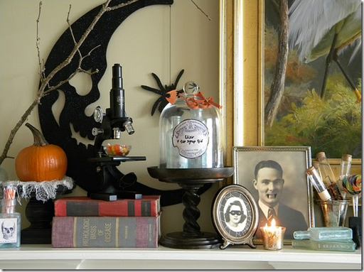 halloween lab mantel decor spooky