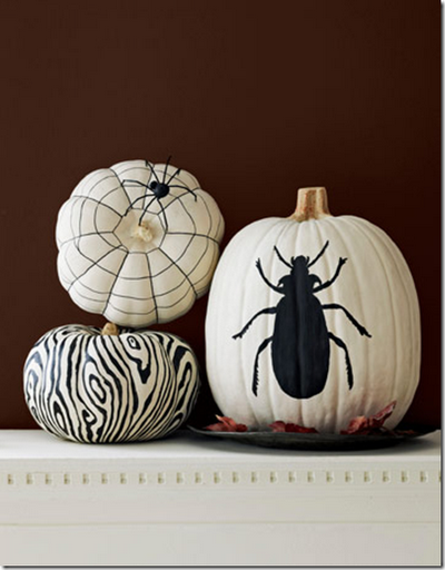 halloween painted pumpkins black white insects