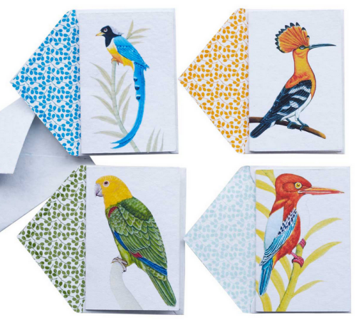 hand block print cards birds